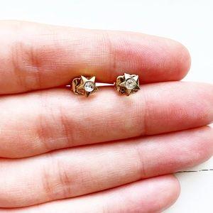 Vintage Avon gold & diamond star stud earrings